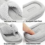 27b61eec2c434 CIOR Fantiny Women s Cozy Memory Foam Spa Thong Flip Flops House Indoor  Slippers Plush Gridding Velvet Lining Clog Style-U1MTW017-Light Gray-38-39