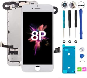 Compatible with iPhone 8 Plus Screen Replacement White Pre-Assembled LCD for iPhone 8 Plus Touch Screen Digitizer Full Assembly with Front Camera Earpiece Sensor Repair Kit+ Adhesive Strips (White)