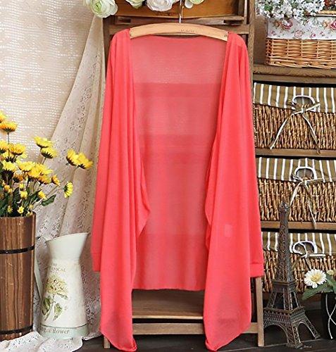 Manica Bikini Pareo Cover Cardigan Donna Casual Puro Costume Irregolare Elegante Mare Lunga Copricostume Estivi Rosso Cappotto Primaverili Abbigliamento Sottile Colore Sciolto Moda Up Ragazza qEqnCWTx