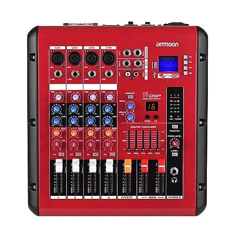 Asdomo PMR406 Mesa de mezclas mezcladora de audio digital de 4 ...