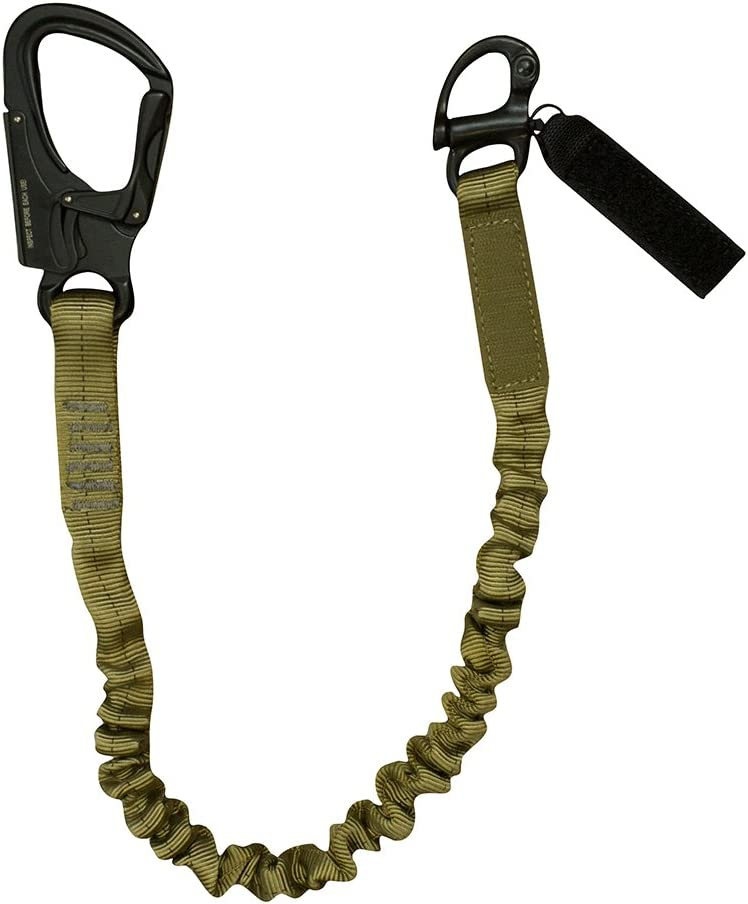 "Fusion Tactical Elastic Sling Retention Helo Lanyard with Snap Hook Shackle 23KN, Coyote Brown, 2' 24"" x 1"""