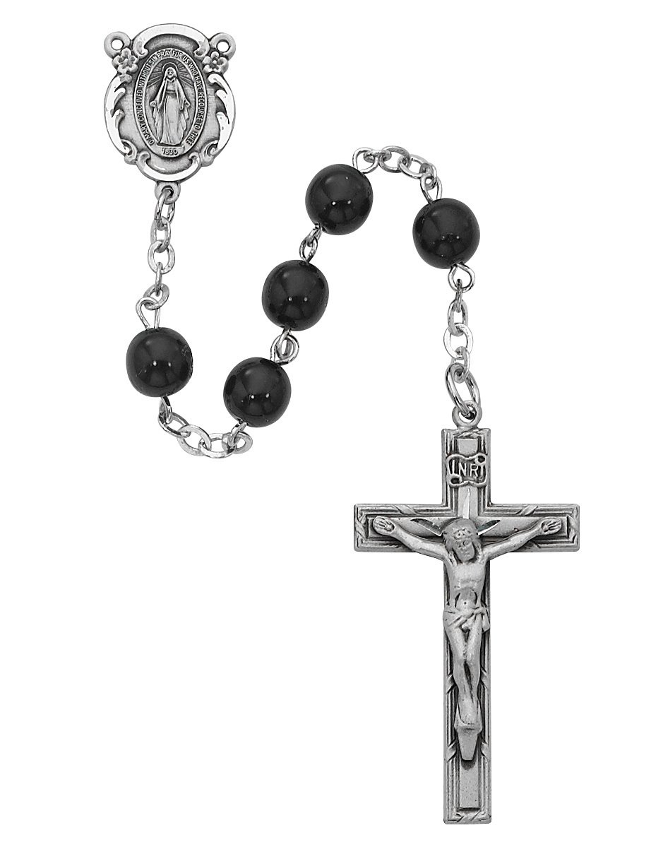 Men's Black Glass 6mm Bead Rosary with Sterling Crucifix by MV001
