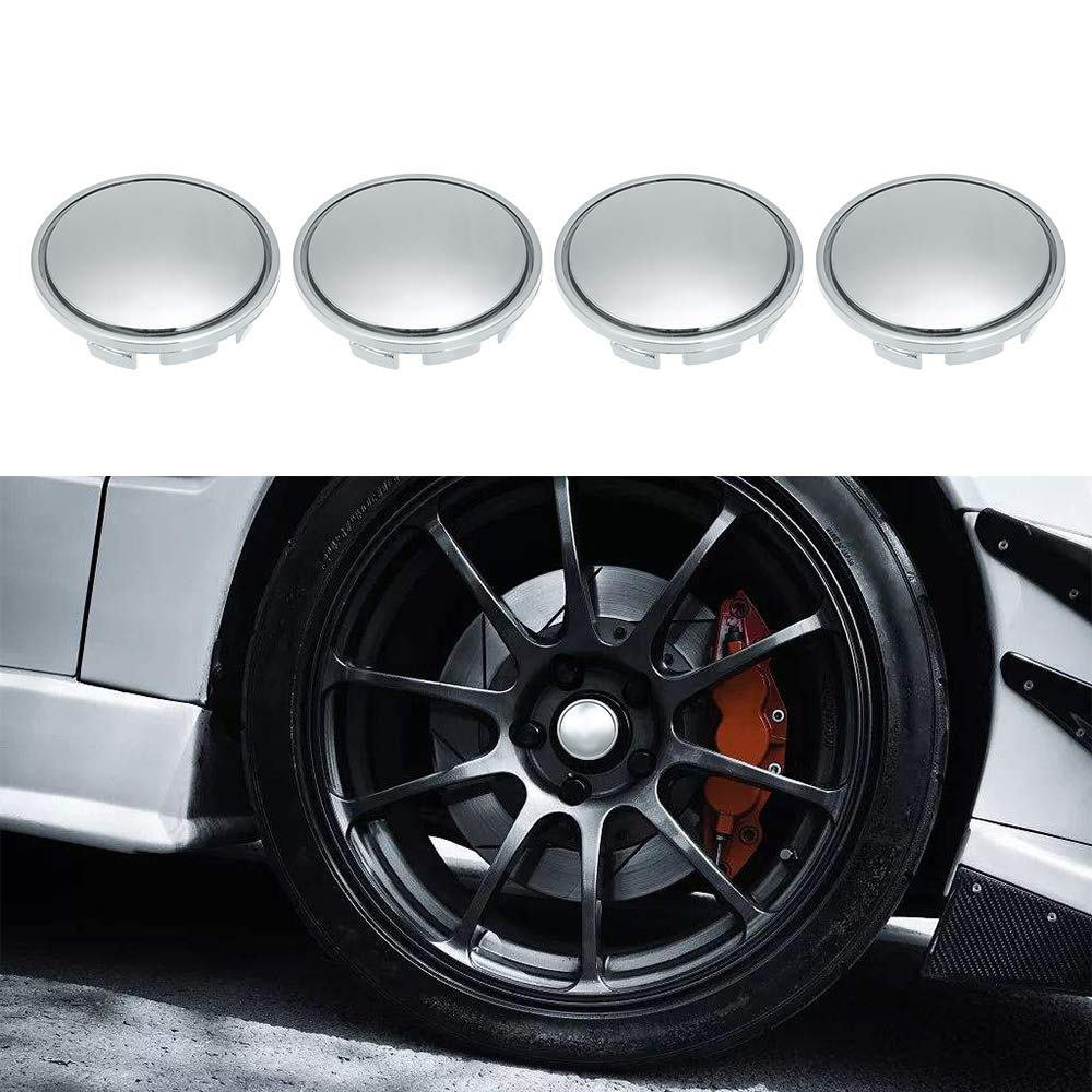 Festnight Wheel Center Caps 56mm Car Hub Tyre Rim Hub Cap Cover Universal ABS Chrome Silver 4PCS