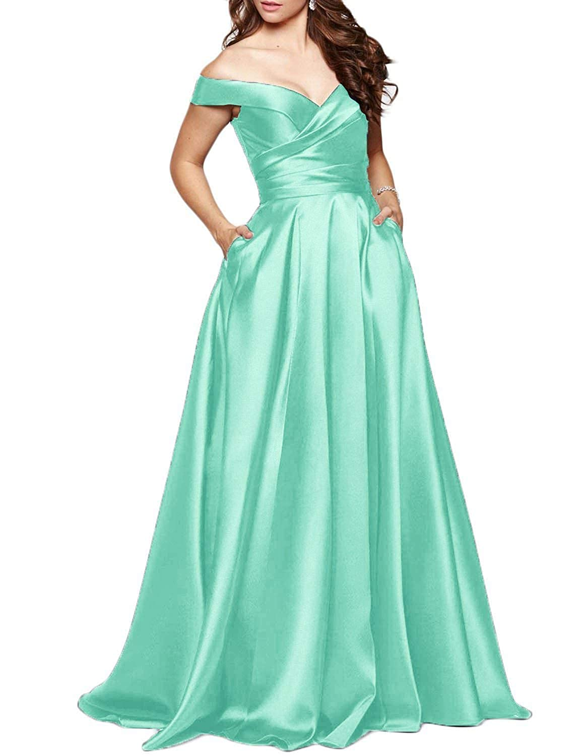 MKbridal Womens Long Prom Dresses with Pockets Maxi Off Shoulder Satin Evening Party Gowns