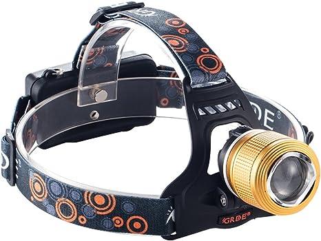 Linterna Frontal LED GRDE Foco LED 2000 Lúmenes Frontal de Cabeza ...