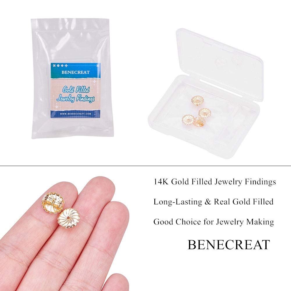 BENECREAT 20PCS 14K Yellow Gold Filled Replacement Earring Backs Stopper Butterfly Earring Stud Backs for Earring Accessories DIY Tools 2x3.5x2.5mm