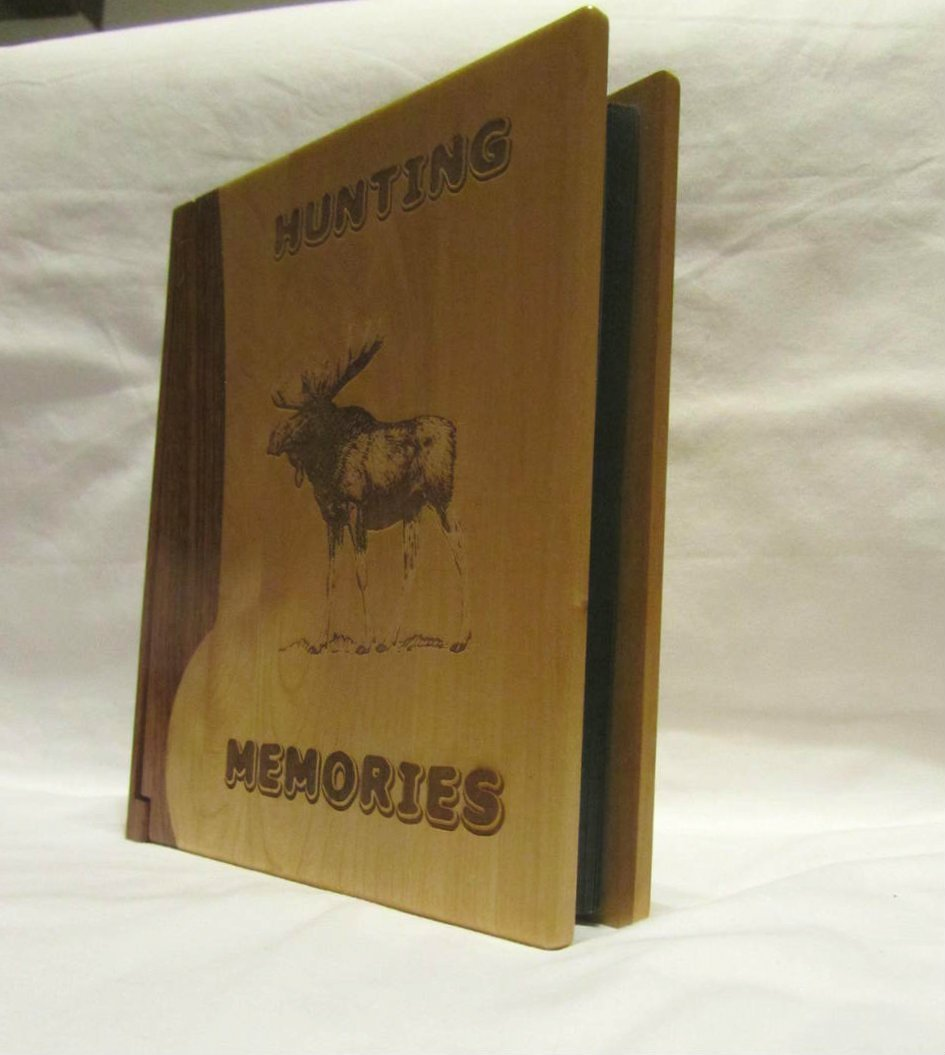 Engraved Wood Personalized Photo Album ''Hunting Memories'' - Large by Whitetail Woodcrafters (Image #4)