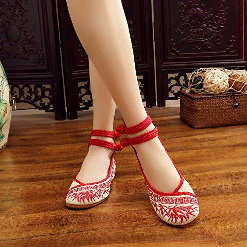 Rosso Mary Donna Da Morbide Casual Janes Scarpe Suole Cinesi Appartamenti Di Ricamo Bambù Con wqnOpOP6