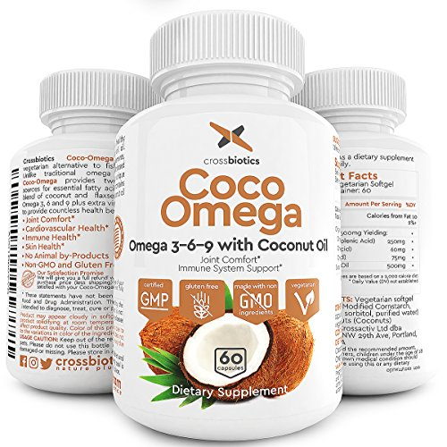 Coco Omega 3 Premium Vegetarian Omega 3 6 9 with Coconut Oil! PLUS Flax Seed Oil, Alpha Linolenic, Lenoic, Oleic Fatty Acids. 60 vegetarian softgels. Gelatin free, Gluten Free