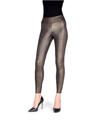 d39df3f9c14ca MeMoi Metallic Shaping Leggings | Women's Premium Fashion Leggings  Black/Gold MSL 016 Small/