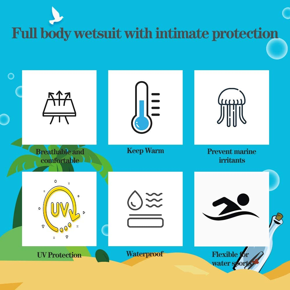 Kids Wetsuit 3mm Neoprene Thermal Full Body Swimsuit Long Sleeves Snorkeling Swimming Diving One Piece Back Zip Sun Protection Shorty Wetsuit for Toddler Boys Girls Youth