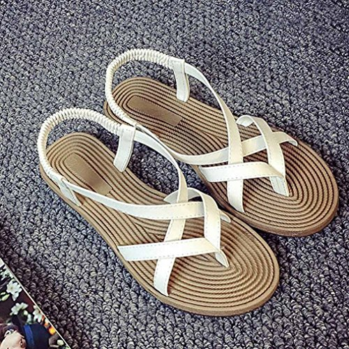 Sandalias para Mujer, RETUROM Las sandalias al aire libre del ocio de Bohemia del vendaje de las nuevas mujeres del estilo calzan Blanco