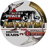 Ashconfish PEライン 釣り糸 X8 (150m 200m 300m 500m 1000m) (1号 1.2号 1.5号 2号 2.5号 3号 3.5号 4号 5号 6号 7号 8号 9号 10号) (5色 マルチカラー/白 ホワイト/黄色 イエロー/グレー/ダックグリーン) 8編