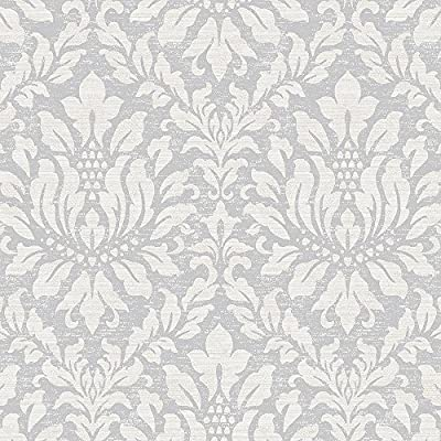 Norwall SD36143 Stitched Damask Prepasted Wallpaper, Multicolor