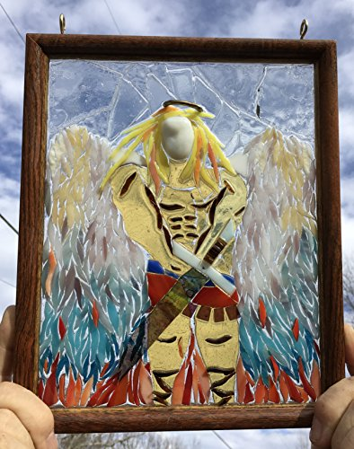 Arch Angel Stained Glass Window Art Sun Catcher, Christian Art by Mountain Mosaics