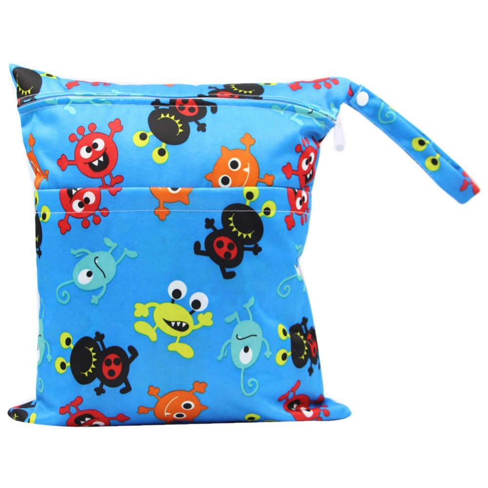 Minuya Baby Diaper Bag Waterproof Zipper Bag Washable Reusable Baby Cloth Wet Bag for Traveling Swimwear Wet or Dry Clothes Storage Bag 2pcs//Pack