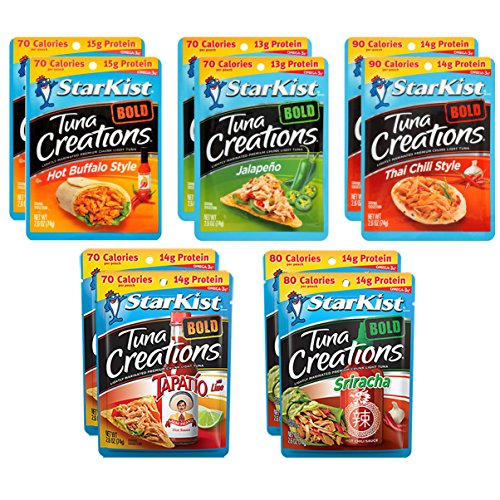 - Variety Pack of 10 Starkist BOLD Tuna Creations - 2.6 Oz Each- 2 Hot Buffalo Style, 2 Thai Chili Style, 2 Jalapeno, 2 Sriracha, 2 Tapatio With Lime