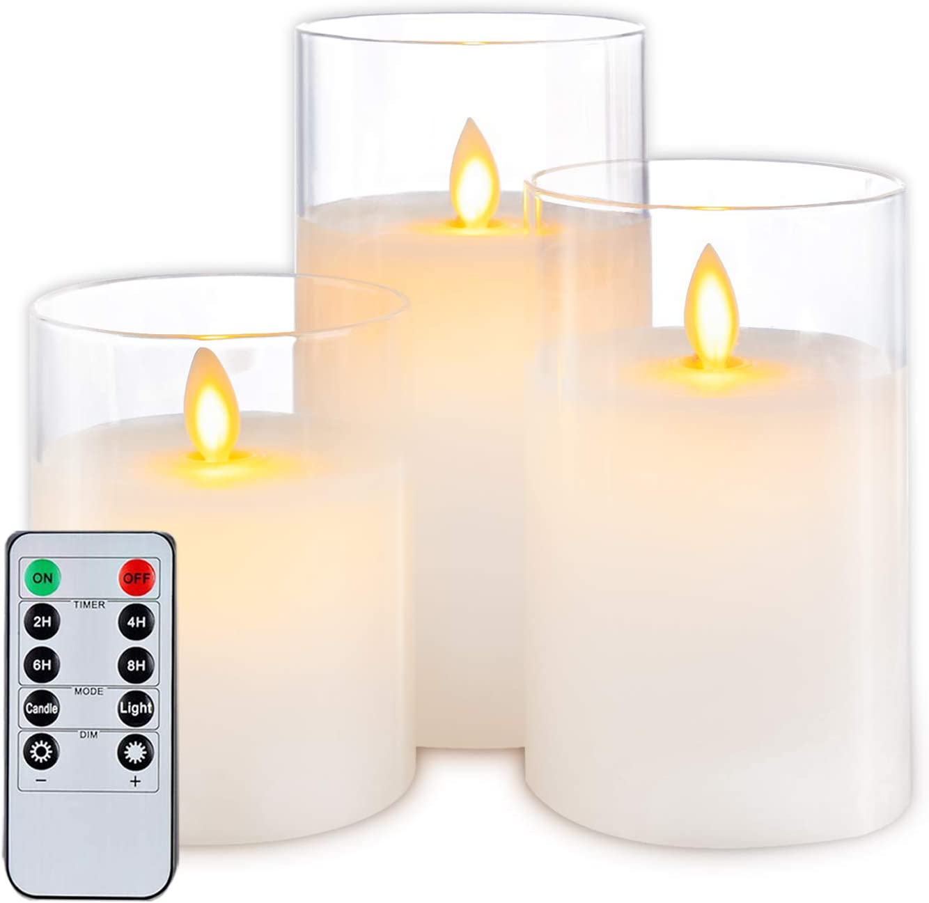 5plots Flickering Flameless Candles, Battery Operated Glass LED Pillar Candles with Remote Control and Timer, Wax, Set of 3 Pure White