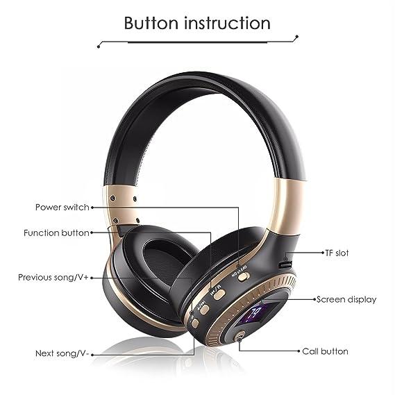 ELEGIANT - Auriculares Bluetooth de diadema, con micrófono inalámbrico, Bluetooth 4.0, sonido estéreo, cancelación de ruido, auriculares de carga USB, ...