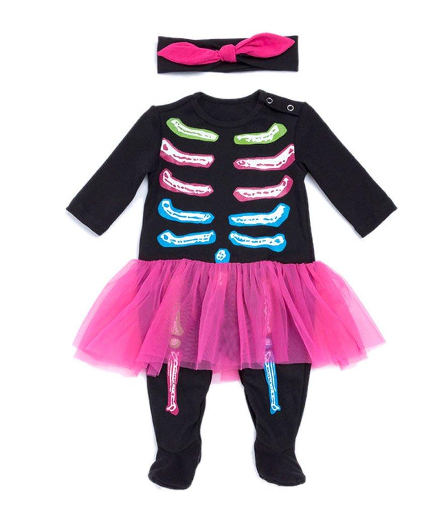 Infant Baby girl 1st Halloween Costume Bone Bodysuit Headband Outfits Fancy Dress Set Large Color C