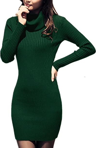 Women Cowl Neck Knit Stretchable Elasticity Slim Fit Sweater Dress