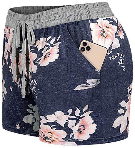 Blevonh Elastic Waist Soft Lounge Shorts Casual Pajama Shorts with Pockets