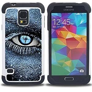 """SAMSUNG Galaxy S5 V / i9600 / SM-G900 - 3 en 1 impreso colorido de Altas Prestaciones PC Funda chaqueta Negro cubierta gel silicona suave (Escarcha Negro Azul Profundo Significado Limpio"""")"""