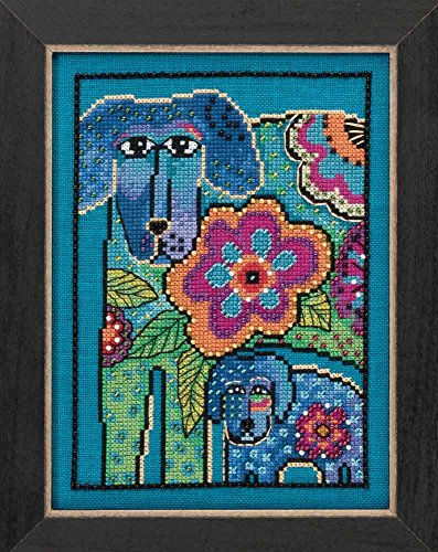 Petunia & Rose Beaded Counted Cross Stitch Kit (Aida) Mill Hill 2016 Laurel Burch Dogs Collection - Burch Rose
