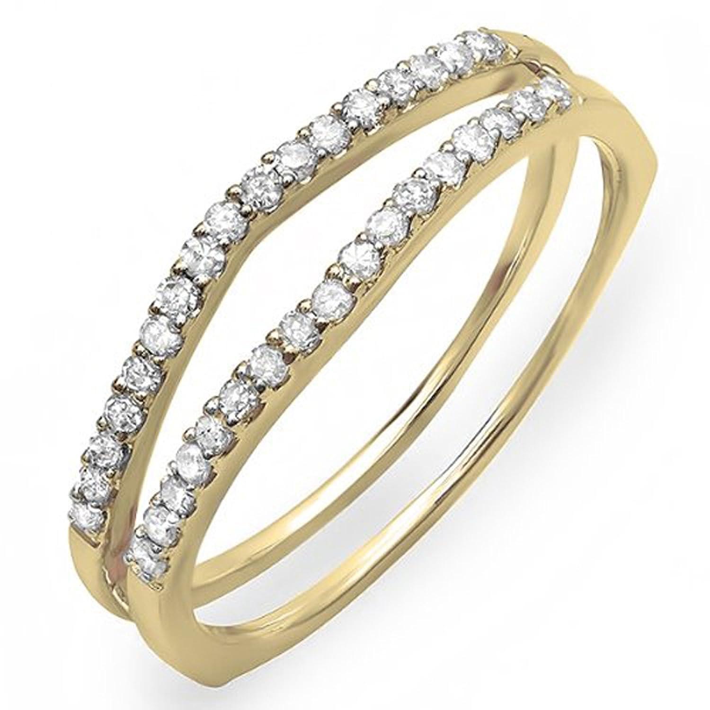 0.25 Carat (ctw) 10K Yellow Gold White Diamond Enhancer Guard Wedding Band 1/4 CT