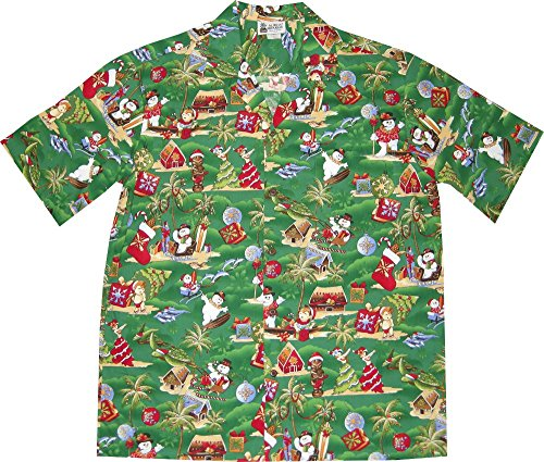Green Christmas Hawaiian Shirt with Frosty The Snowman