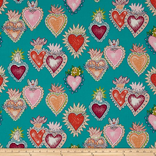 Fabric Alexander Henry (Alexander Henry Folklorico Alma y Corazon Turquoise Fabric by The Yard)