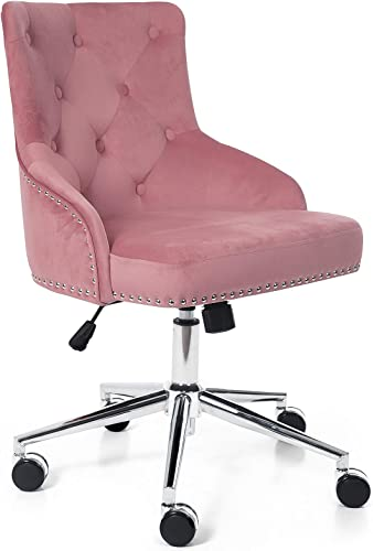Irene House Modern Mid-Back Tufted Velvet Fabric Computer Desk Chair Swivel Adjustable Accent Home Office Task Chair Executive Chair