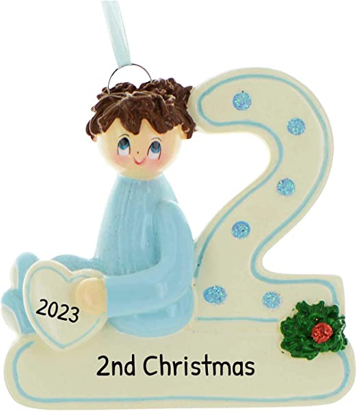 Babys Second Christmas 2020 Amazon.com: Personalized 2nd Christmas Boy Tree Ornament 2020