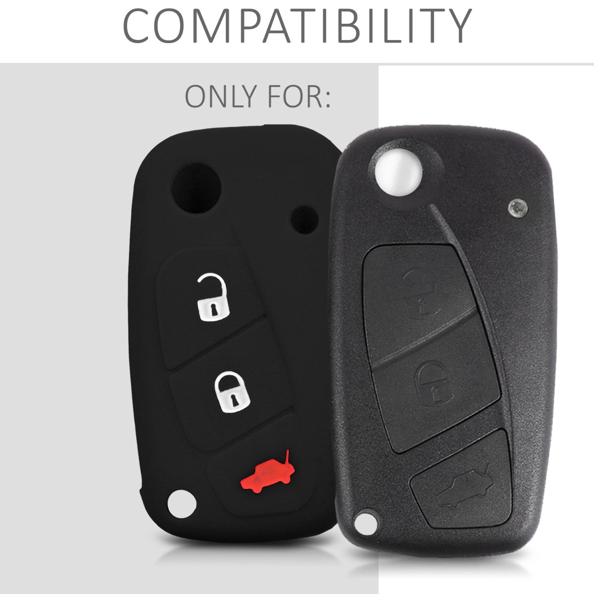 Silicone Protective Key Fob Cover for Fiat Lancia 3 Button Car Key Red//Black kwmobile Car Key Cover for Fiat Lancia