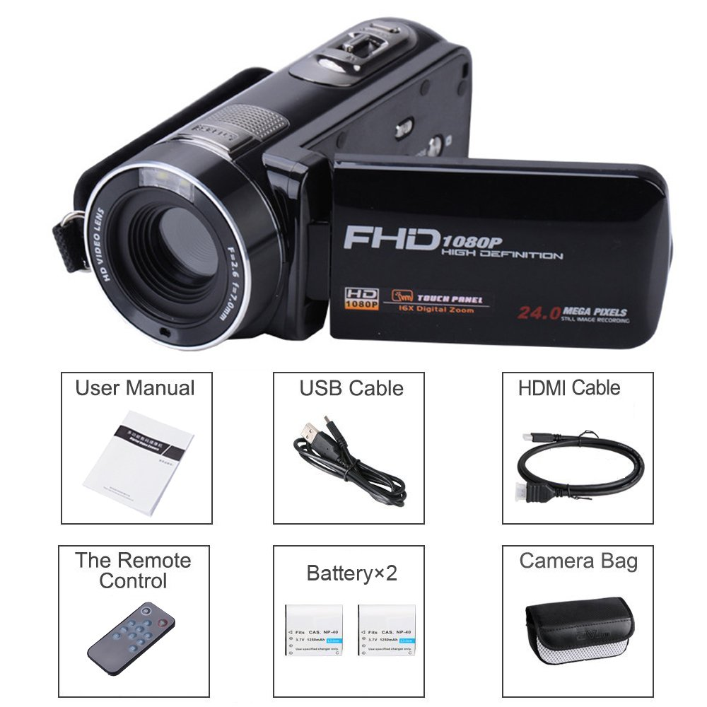 Camera Camcorder with IR Night Vision, Weton 3.0 inch LCD Touch Screen Digital Video Camera Full HD 1080p 24.0MP Pixels 18x Digital Zoom Mini DV with Remote Control (Two Batteries included) by Weton (Image #9)