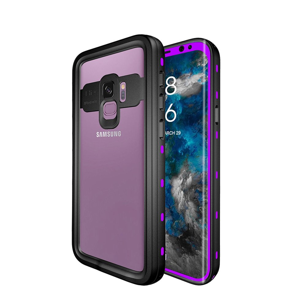 Hayder Galaxy S9 Case Waterproof Shockproof Snowproof Dustproof Clear Rugged Case with Built-in Screen Protector for Samsung Galaxy S9 (Purple)