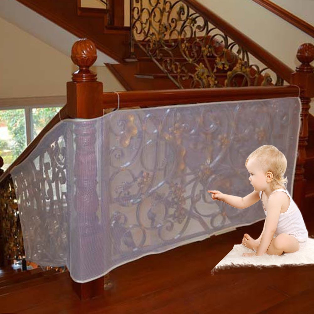 Luerme 10Ft Child Safety Rail NetOutdoorBalcony&StairwayDeckRailingSafetyNetBanisterStairNetChildPetToySafetyStairsProtector Kid Safe Guard (Gray)