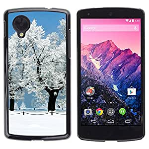 CASECO - LG Nexus 5 D820 D821 - White Snow Forrest - Delgado Negro Plástico caso cubierta Shell Armor Funda Case Cover - Blanca Nieve Forrest
