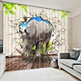 Digital Printing Curtains 3D Curtains + Accessories Hook + Roman Rings Bedroom Living Room Curtains Valance (excluding curtain rods or rails) (Size : 3.2x2.7M)