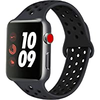 AK Compatible with for Apple Watch Band 38mm 40mm 42mm 44mm, Soft Silicone Replacement Wristband Compatible with for iWatch Apple Watch Series 4, Series 3, Series 2, Series 1