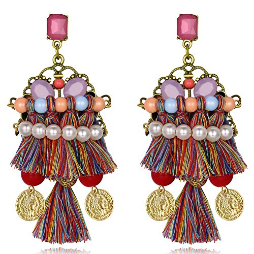 Women Tassel Dangle Earrings Bead Colorful Fringe Drop Ethnic Style Earrings by Herinos - Pearl Fringe Earrings