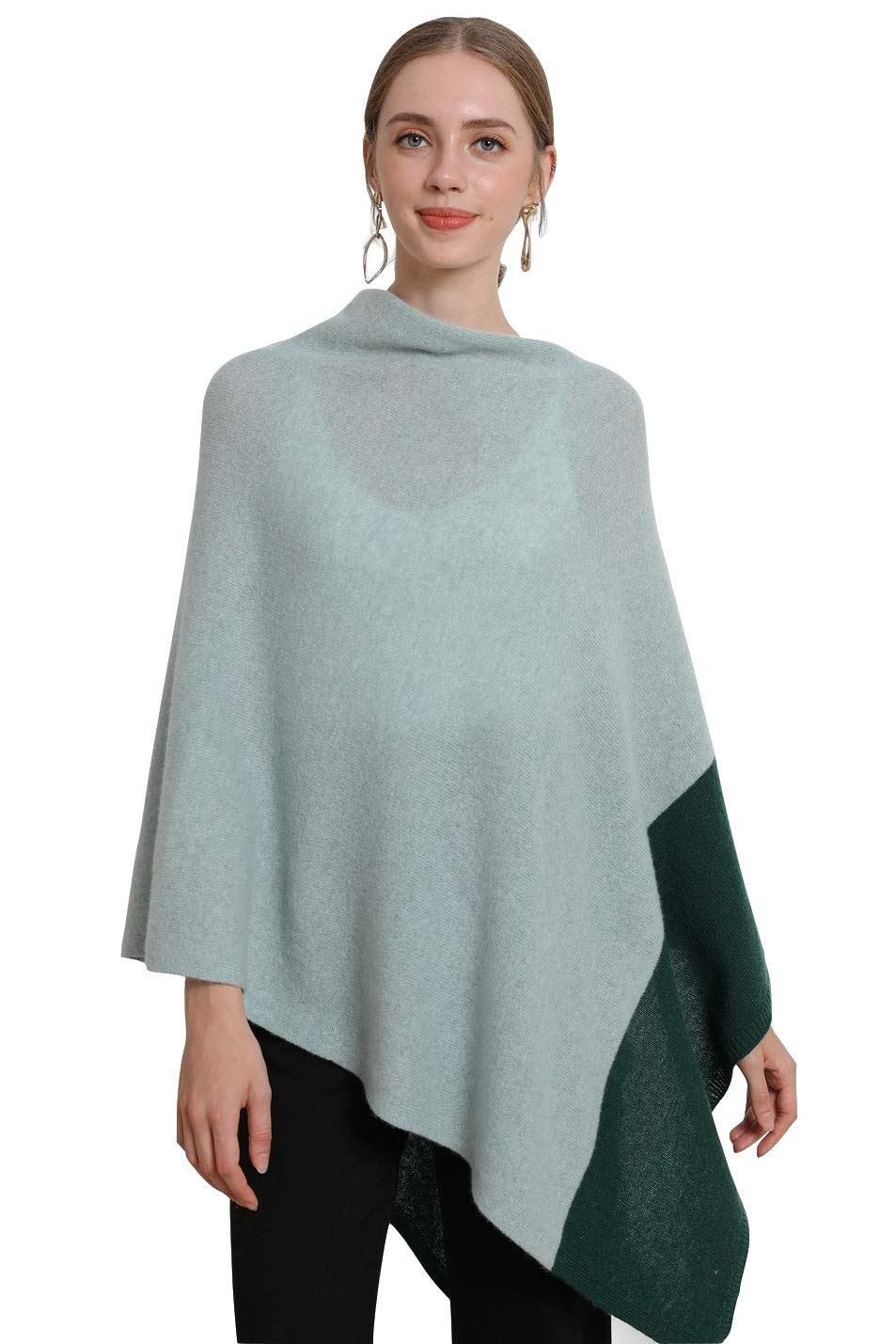 winter wedding wrap knitted poncho Women's hit color Wraps Scarves Cashmere wool Knit Cowl neck Sweater Wrap Oversized Poncho(Dark Green+Light Green) by RanRui