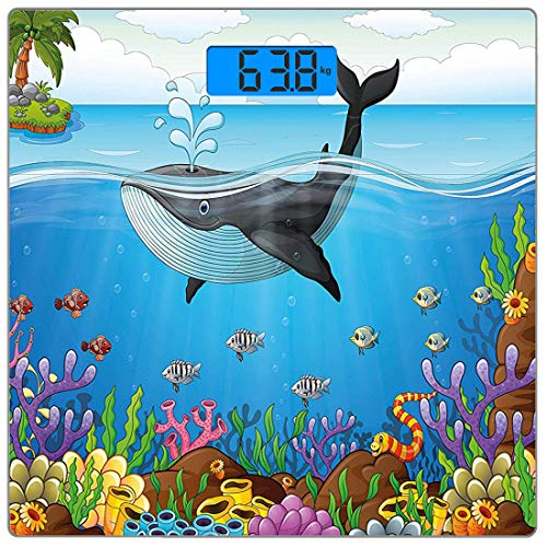 - Precision Digital Body Weight Scale Whale Ultra Slim Tempered Glass Bathroom Scale Accurate Weight Measurements,A Massive Whale The Master of The Oceans Themed Around Planet,Dark Green Forest Green