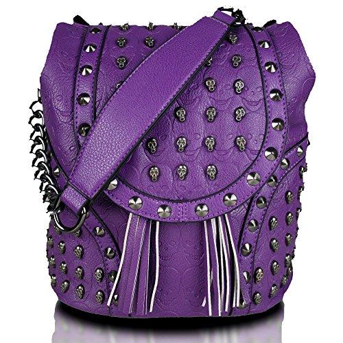 Bags Purple Work Skull Chain Miss Backpack Faux LuLu School Travel Shoulder Leather Studded Leisure Bag Embossed gBxFA6Swq