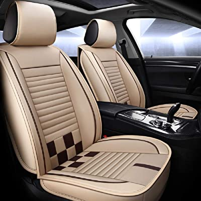 Saienno Custom wear-Resistant Leather Stitching Contrast Car Seat Cushion Covers 5 Seats Full Set Universal Fit. (Beige-Brown): Automotive