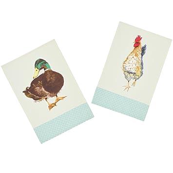 Kitchencraft Animales de Granja de 100% Impreso pájaro té Toallas, 70 x 47 cm