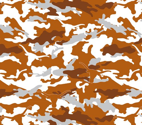 Texas Camouflage Camo Print Polyester Fleece Fabric, Burnt Orange & White - Sold By the Yard -