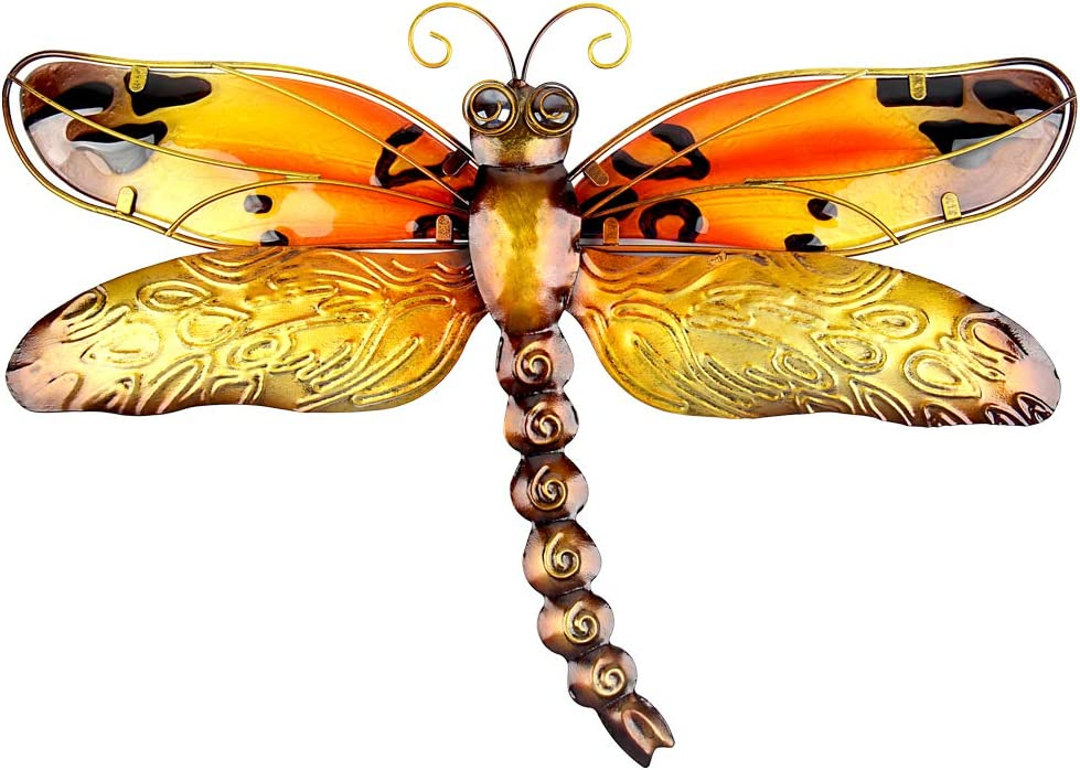 John's Studio Metal Dragonfly Wall Decor Bathroom Glass Art Iron Sculpture Outdoor Orange Hanging Decoration for Home Bedroom Garden Patio Porch or Fence