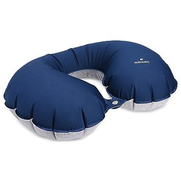 978ff29b09 Navaris Cuscino da Viaggio Aereo Gonfiabile per Collo - poggiatesta  ergonomico Leggero Anti-cervicale per Auto Treno Volo Pullman - Adulti  Bambini Blu: ...