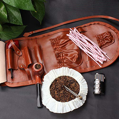 Handmade Genuine Leather Pipe Tobacco Pouch Bag Organize Case Pipe Tool lighter Holder Pocket for 2 pipe Vintage Unisex (Brown(lacing )) by Unknown (Image #6)